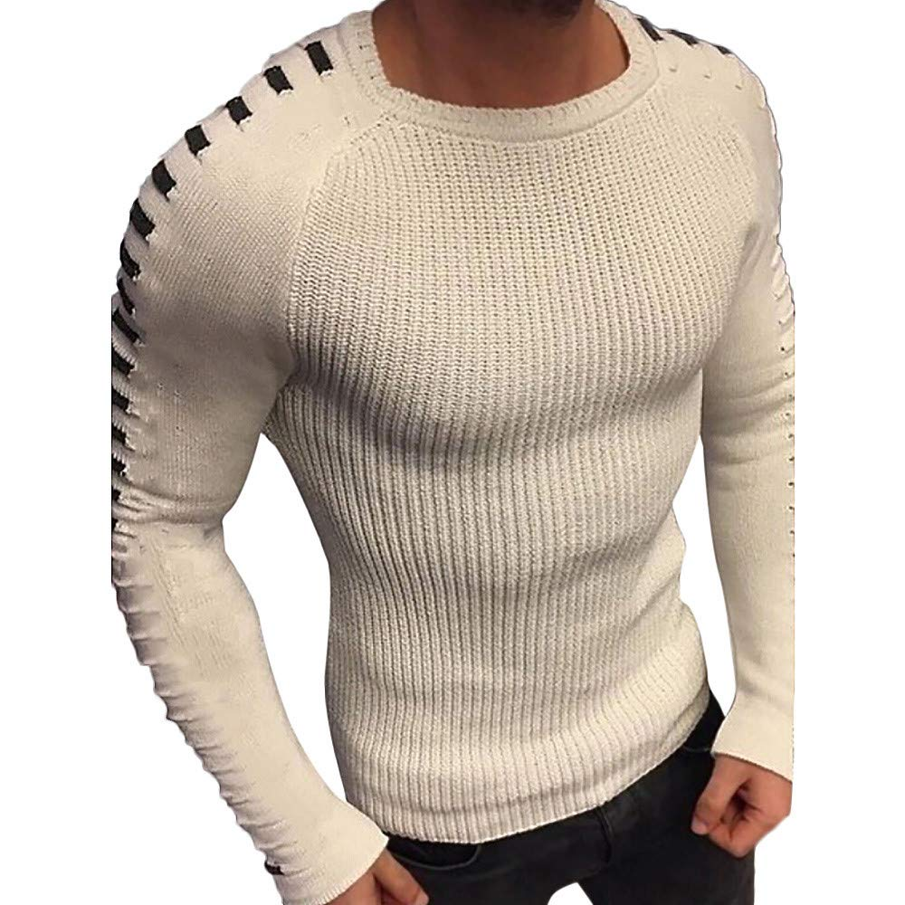 Luckylin Mens Fashion Men Autumn Winter Warm Solid O Neck Knitted Long Sleeve Sweater Tops Blouse T Shirt Jacket