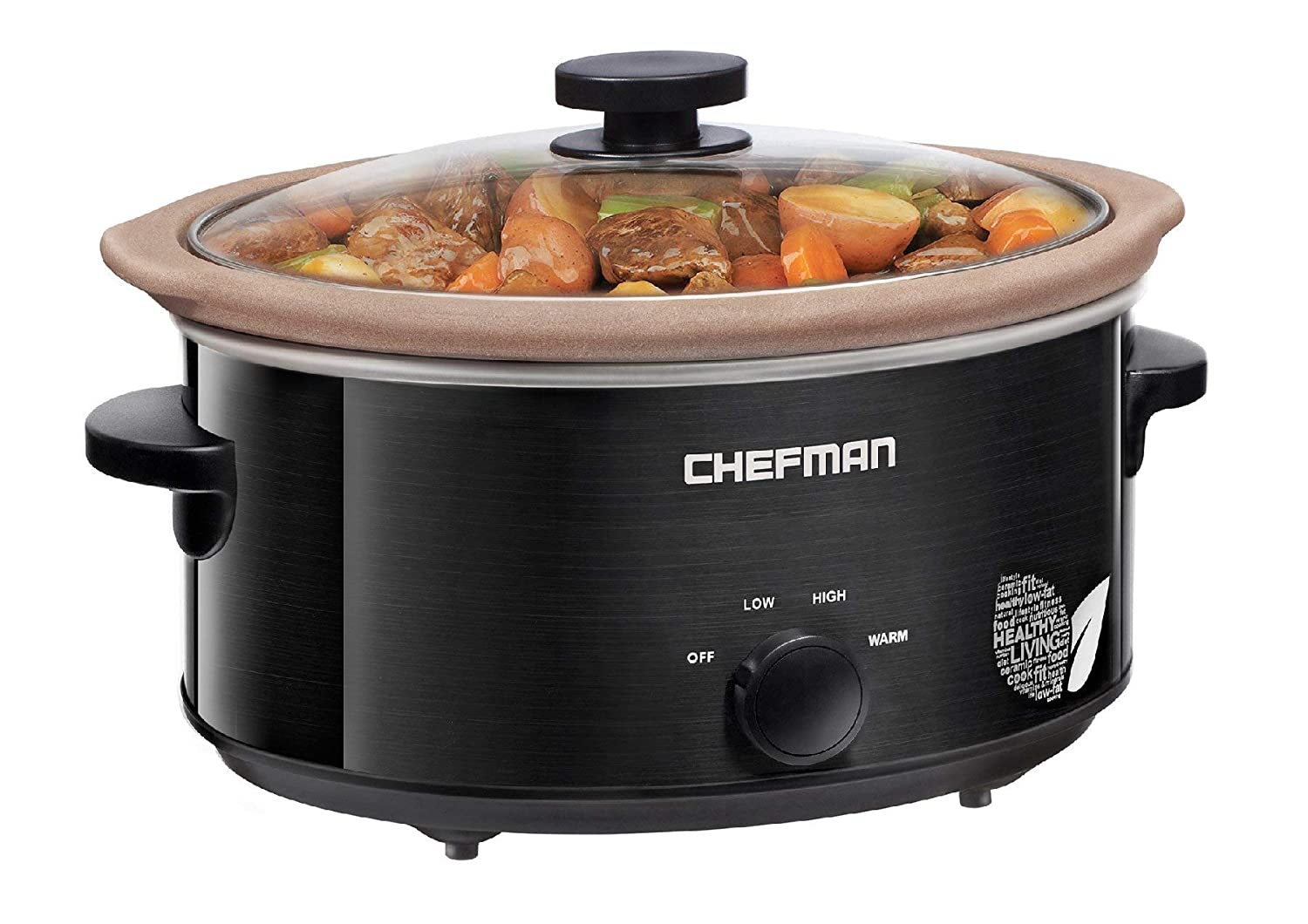 Chefman Slow Cooker, All-Natural XL 5 Qt. Pot, Glaze-Free, Chemical-Free Stovetop, Oven, Dishwasher Safe Crock; The Only Naturally Nonstick Paleo Certified Slow Cooker, Free Recipes Included (Renewed)