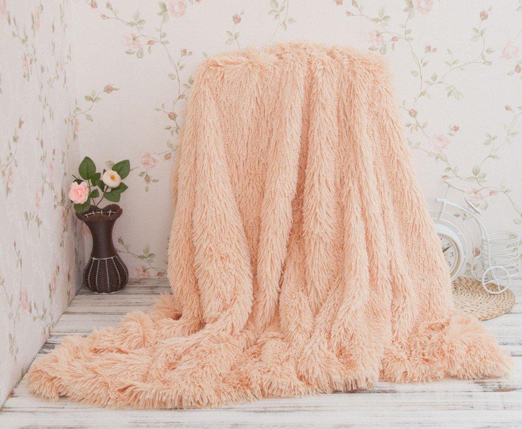 Tenghe Super Soft Shaggy Faux Fur Warm Plush Throw Blankets Fuzzy Long Hair Blankets for Winter (51X 63, Pink)