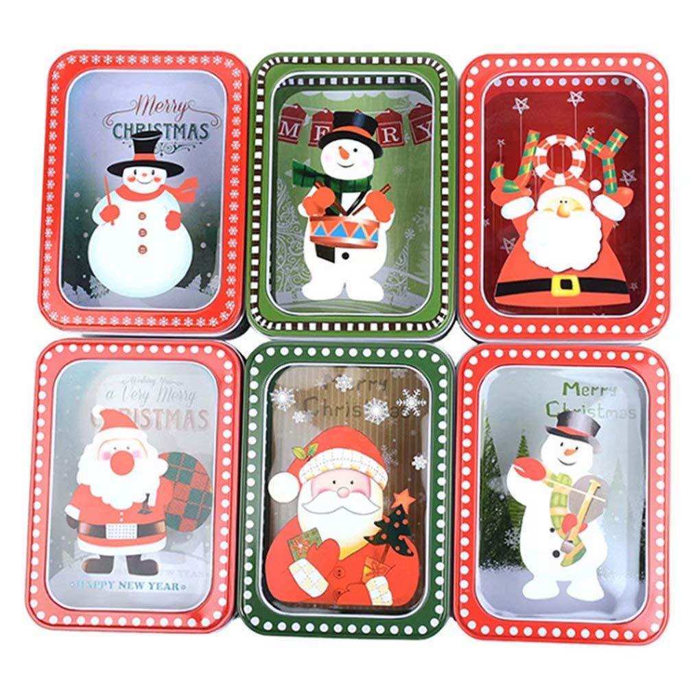Sunrise-EU 6 PCS Sichtbar Weihnachten Keks Box Keksdose Zinn Zucker-Box