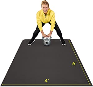 Large Exercise Mat 6' x 4' x 7mm   Ultra-Durable Non-Slip Rubber Workout Mat for Home Gym Flooring   Ideal for Cardio, Fitness, Plyo, MMA and Yoga   Jump Rope and Storage Bag Included