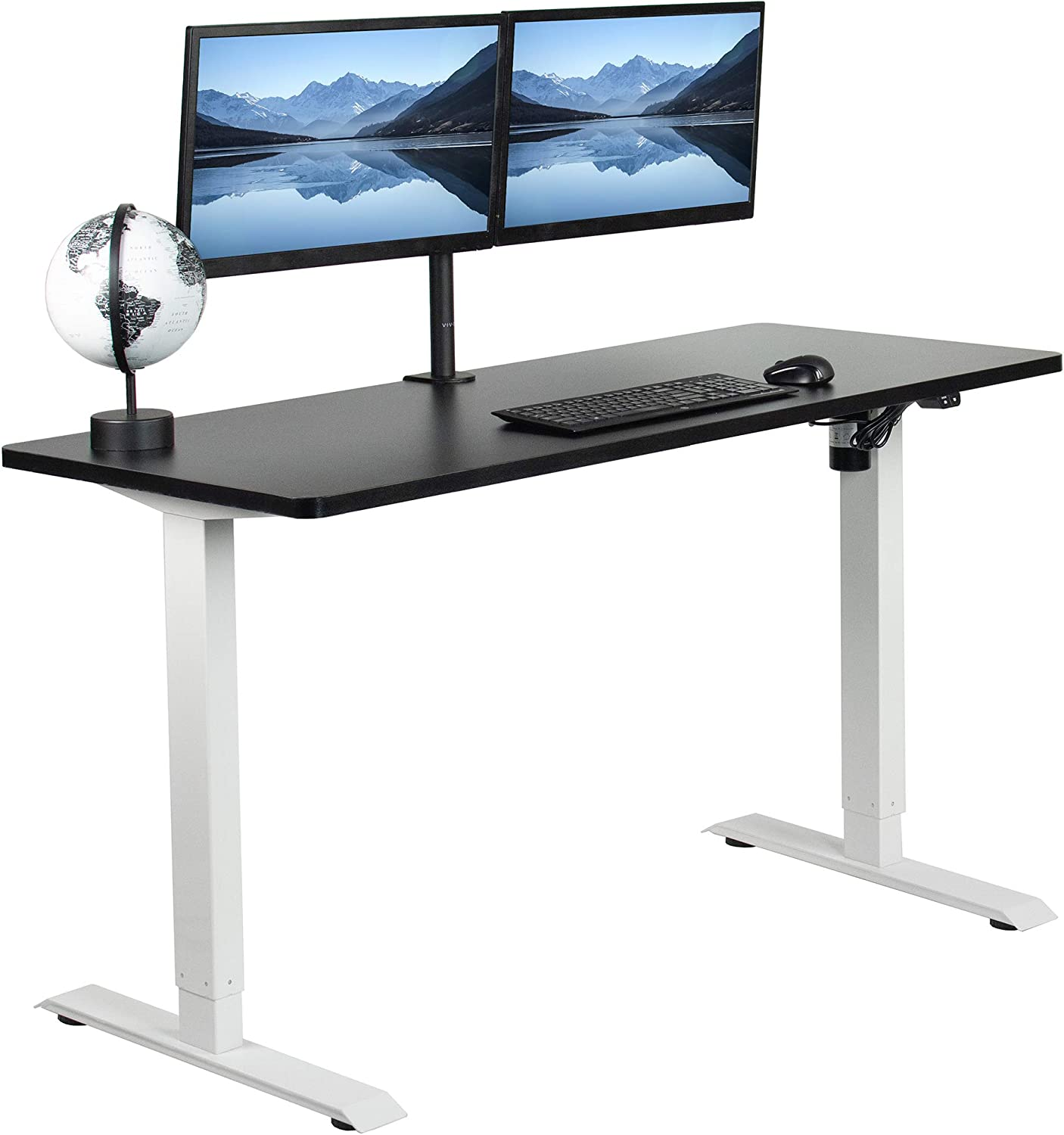 VIVO Electric 60 x 24 inch Stand Up Desk, Black Solid One-Piece Table Top, White Frame, Height Adjustable Standing Workstation with Simple 2 Button Controller (DESK-KIT-W06B)