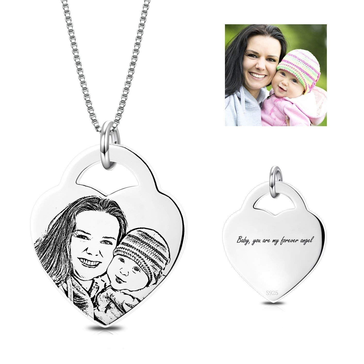 VERSUSWOLF Personalized Photo Cutom Necklace Sterling Silver Heart Engraved Pendant