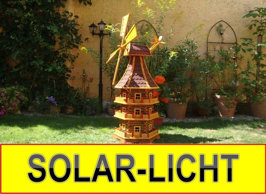 MEGA - XXL Windmühle, mit dickem Bitumen, mit Windrad, Seitenruder, Windfahne, DREISTÖCKIG, WMB-RAD160ro-MS ,Windmühlen mit Licht, Windmühlen garten, mit Solarbeleuchtung, MIT SOLAR, für Außen 1,60 m groß rot dunkel