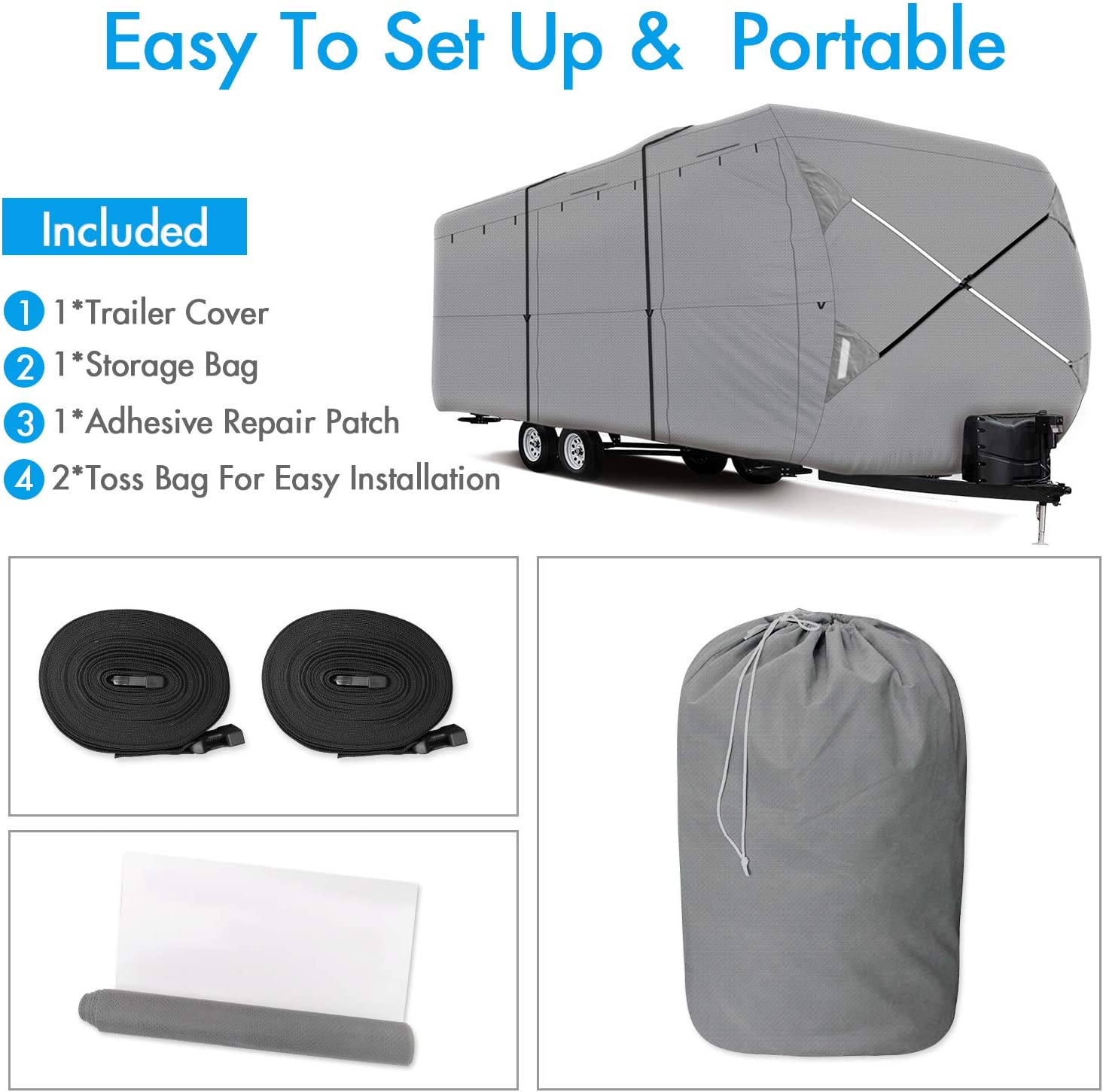 Ripstop Waterproof RVs Covers with Storage Bag and Windproof Buckles XGEAR Thick 3-Ply Top Panel Travel Trailer Cover 27-30