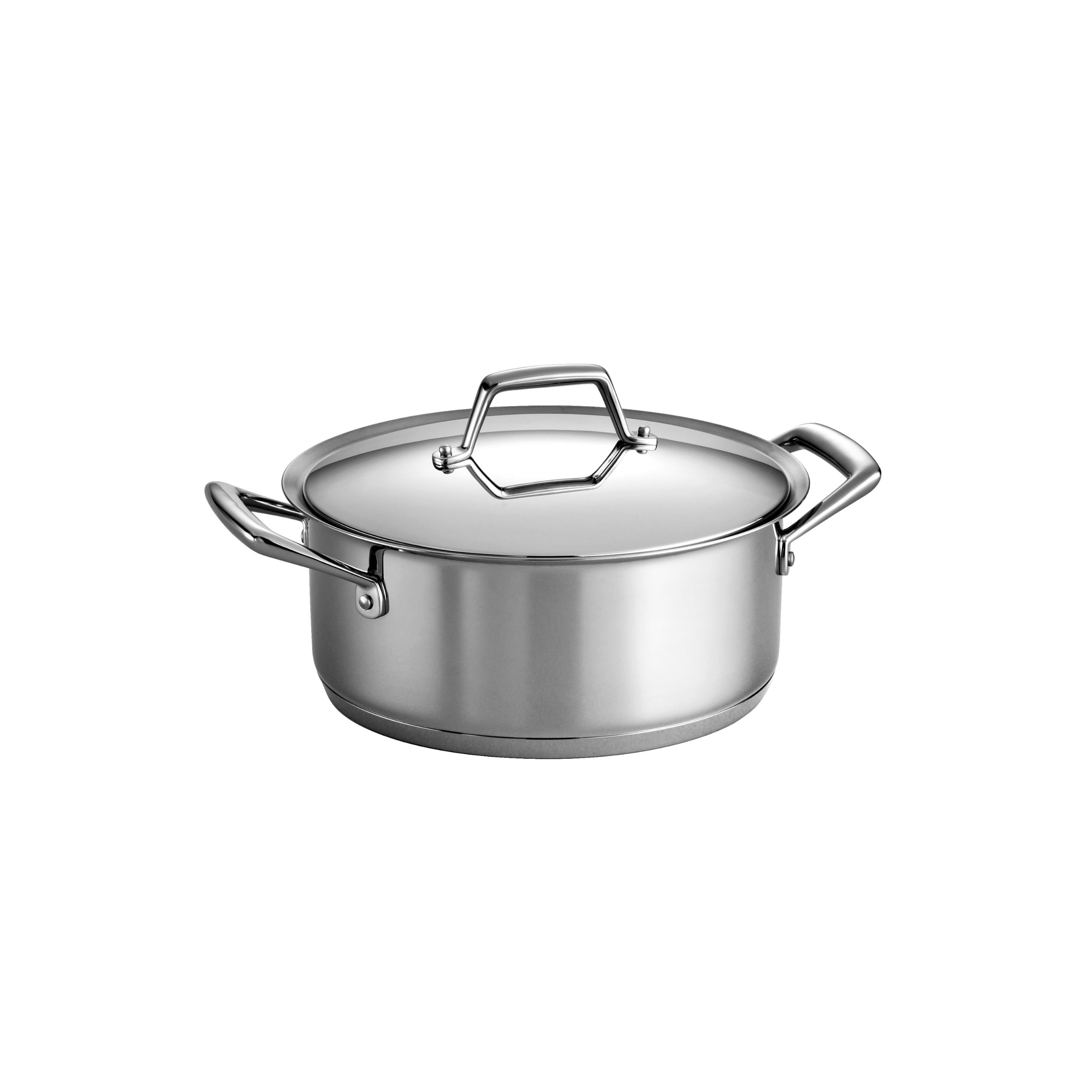 Tramontina 80101/010DS Gourmet Prima Stainless Steel, Induction-Ready, Impact Bonded, Tri-Ply Base Covered Dutch Oven, 5 Quart, Made in Brazil