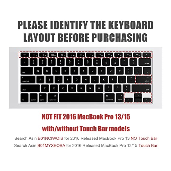 """Amazon.com: Keyboard Cover Compatible MacBook Pro 13"""" 15"""" (2015 or Older Model) /MacBook Air 13 A1369 A1466 Keyboard (!!!Not Fit for 2016-2018 New MacBook ..."""
