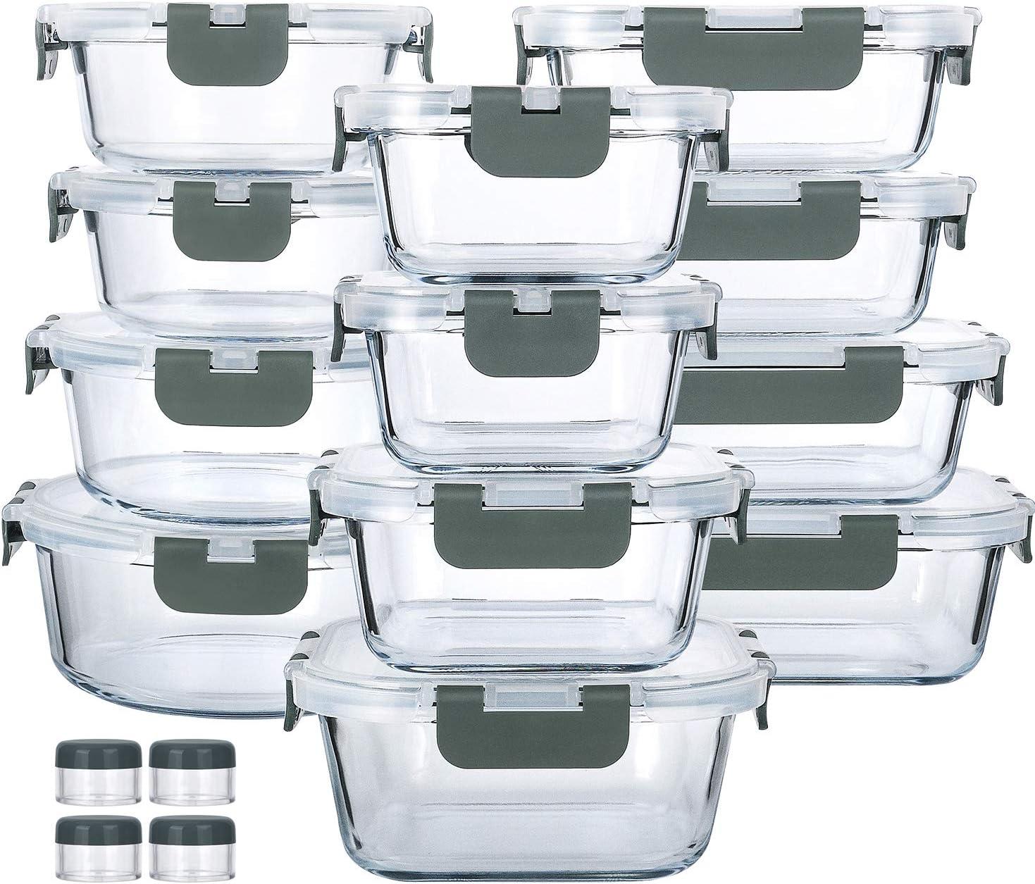 ガラス製食事準備容器24点セット ガラス製食品保存容器 生涯持続するスナップロック蓋付き 密閉ランチ容器 電子レンジ、オーブン、冷凍庫、食器洗い機使用可