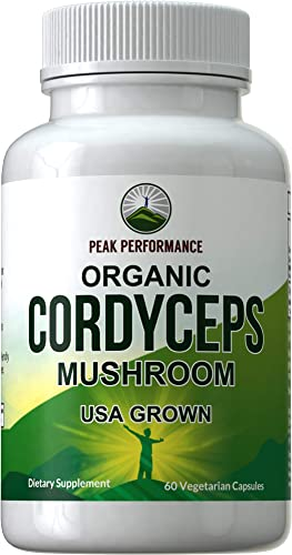 Organic Cordyceps Mushroom Capsules USA Grown by Peak Performance. Naturally Harvested Cordycep Mushrooms Extract. Energy Performance. Antioxidant, Beta Glucans Supplement 60 Pills