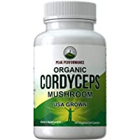 Organic Cordyceps Mushroom Capsules (USA Grown) by Peak Performance. Naturally Harvested...