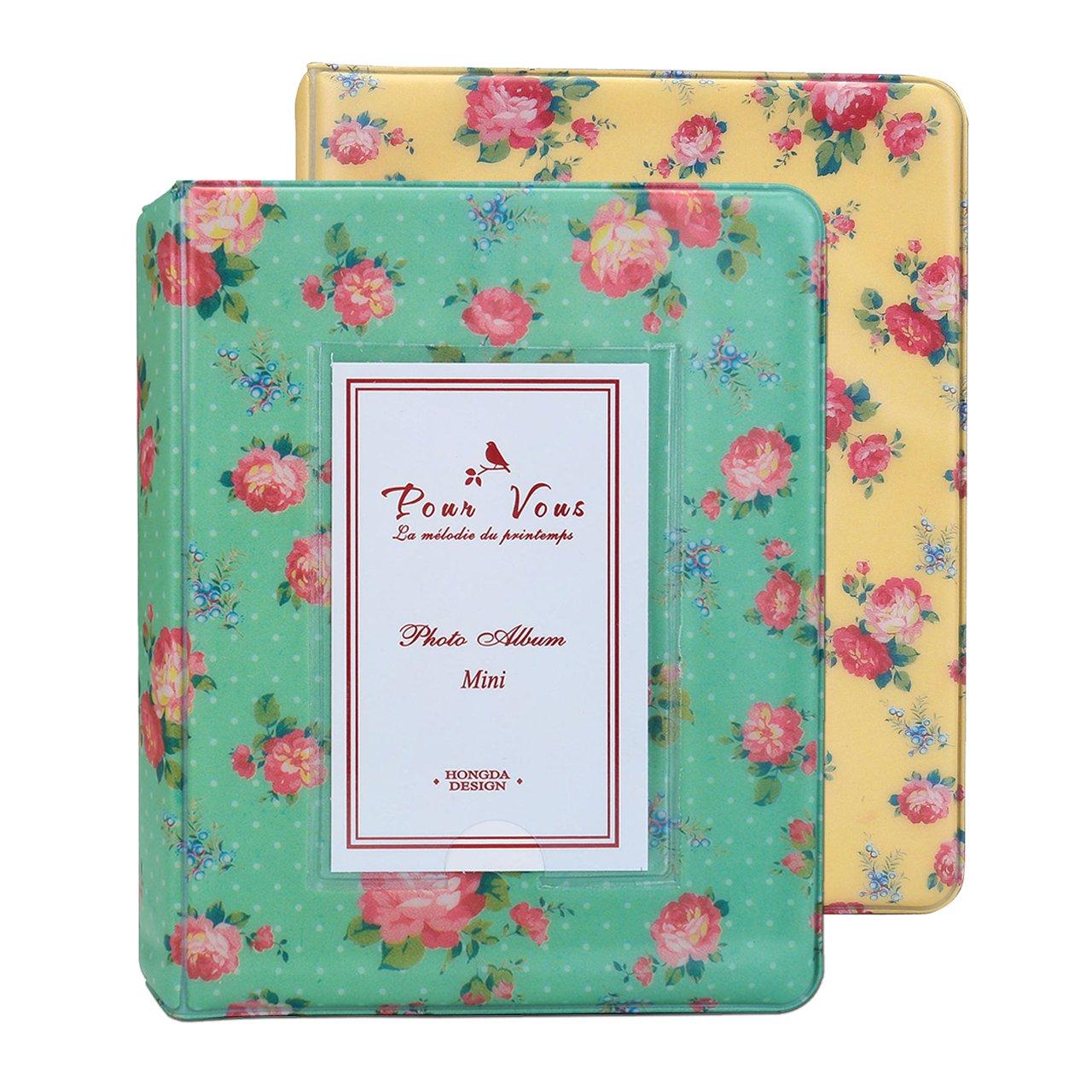 WarmHut Instax Album Set, Bundles Set of 2 Vintage Flower Floral Mini Photo Album, for Fuji Fujifilm Instax Mini 8 90 Polaroid, 3-inch Business Credit Name Card Holder (Green/Yellow)