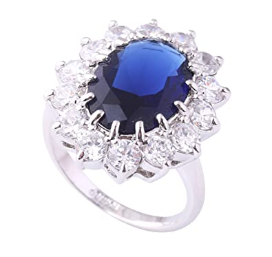 448bcc12d Acefeel Gorgeous 18K White Gold Plated Oval Made with Swarovski Element Blue  Crystal Ring Size 8