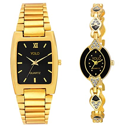 Analogue Black Dial Men's & Women's Couple Watches | Couple Watches Set