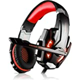 LESHP - Auriculares para gamer G9000 con cable para PC, PS4, portátil, tableta y móvil - Con micrófono, audio estéreo, luz led y antirruido Noir+Rouge