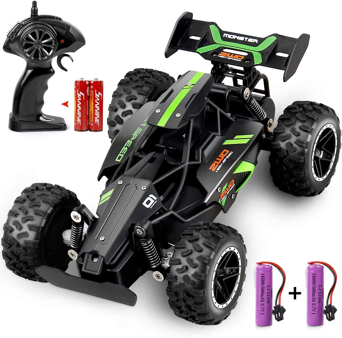 Amazon Com Outerman All Terrain Rc Cars Electric Remote Control Truck 15 20 Km H Monster Vehicle High Speed Rc Toy For Teens Adults And Boys Kids With 2 Lithium Rechargeable Batteries New 1 18 Scale 2 4ghz
