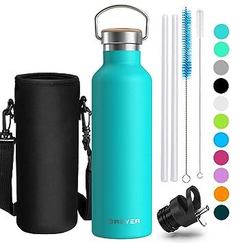 Creyer Botella de Agua aislada al vacío de Acero Inoxidable, 500ml & 750ml, 100% Libre de BPA Antifugas, diseño de Pared Doble, Reutalizable Fitness ...