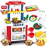 deAO Kitchen Playset Happy Little Chef Pretend Play for Toddlers with Lights, Sounds, Real Water Features and Accessories Included
