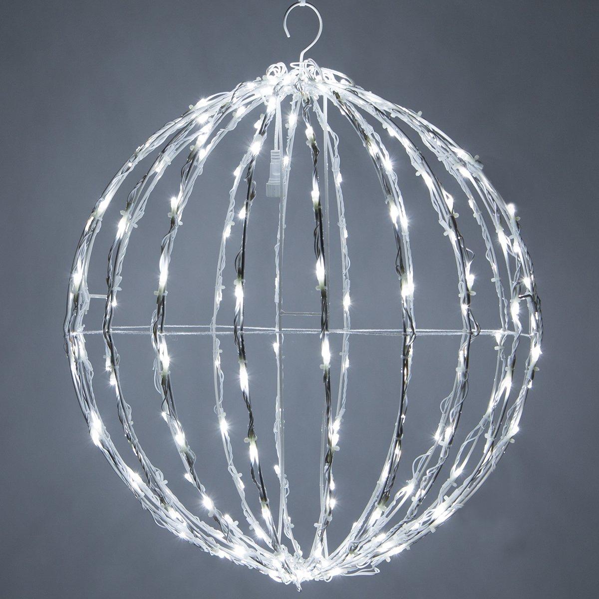 LED Light Ball – Indoor / Outdoor Christmas Light Balls, Light Spheres Outdoor / Sphere Light Fold Flat Metal Frame (32'', White Frame / Cool White Lights) by Wintergreen Lighting