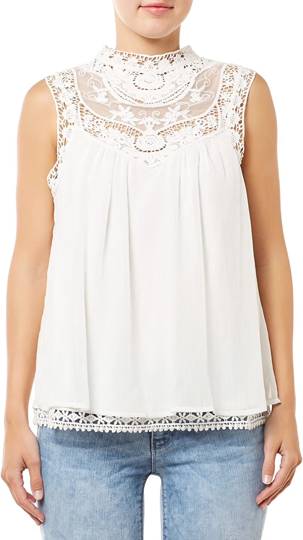 Blusa encaje ibicenca de Vila Clothes (XS - Blanco): Amazon ...