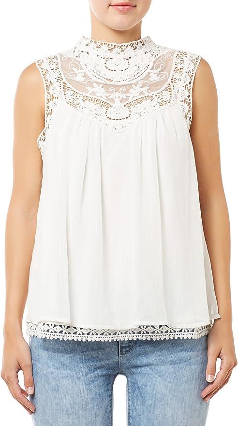 Blusa encaje ibicenca de Vila Clothes (XS - Blanco): Amazon.es: Ropa y accesorios