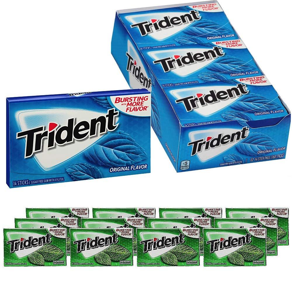 Trident Gum Kit: Original (168 Count) & Spearmint (168 Count) Flavor - Bundle