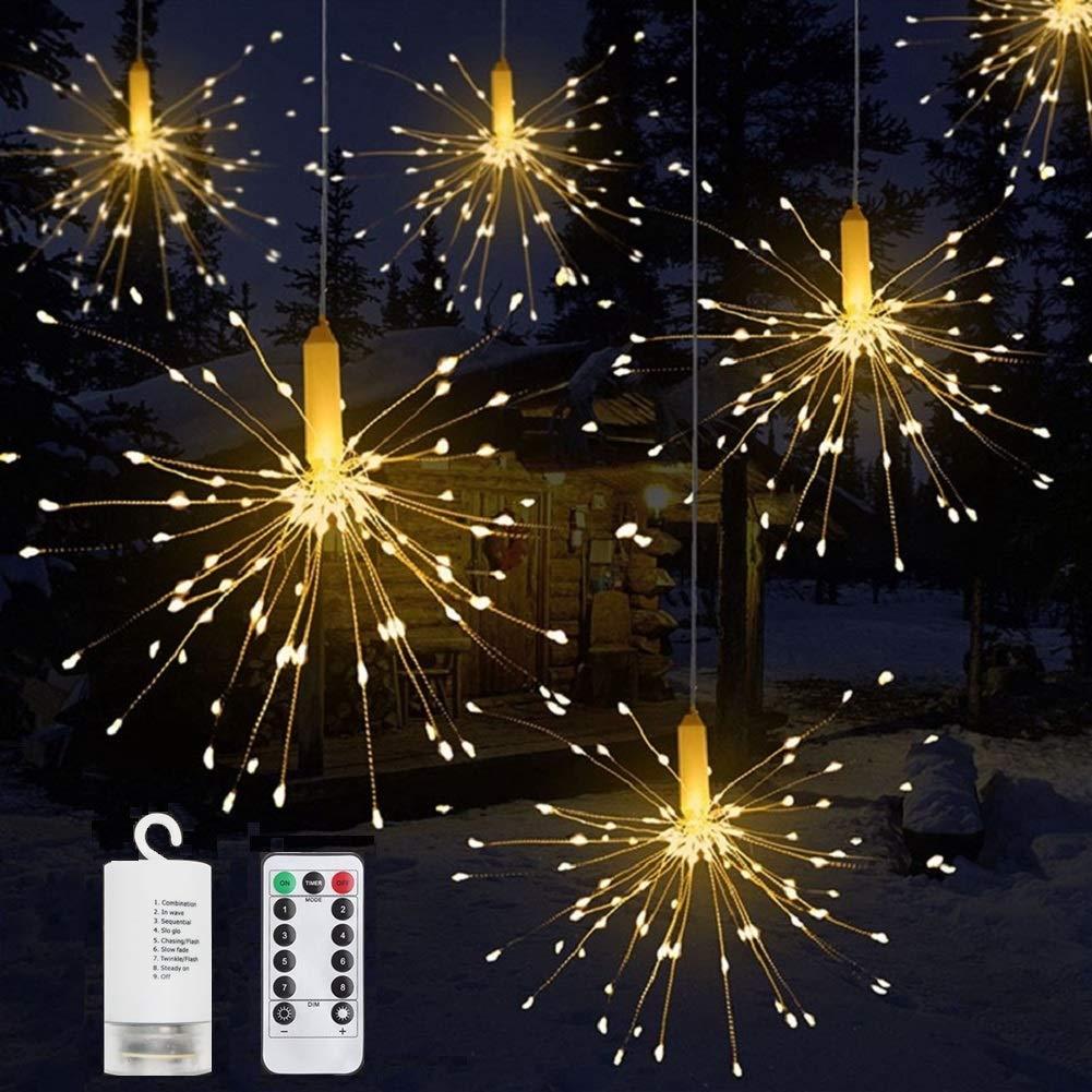 SNOW Strip String, Battery Operated Hanging Starburst Light 120 LED, Warm White