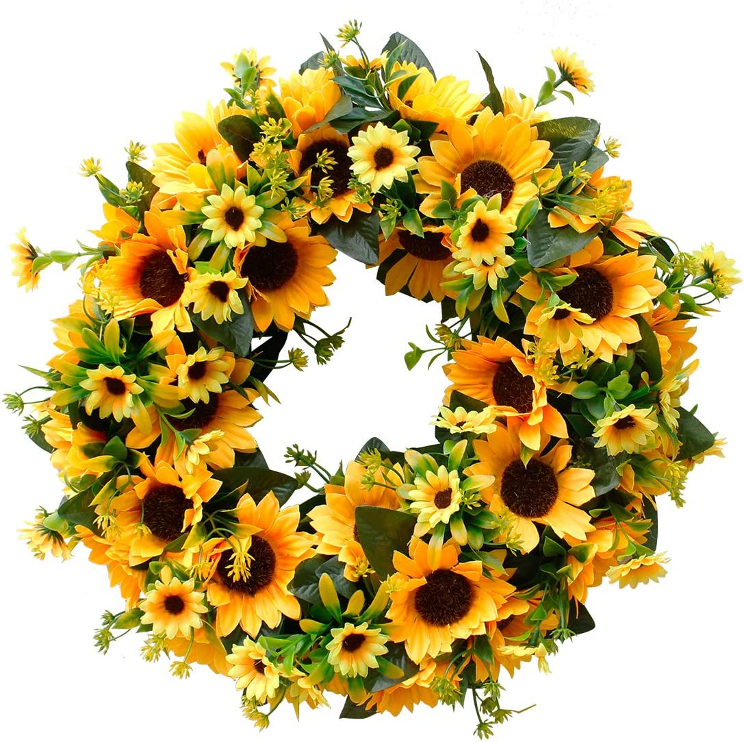 FUNME Artificial Sunflower Wreath Welcome Front Door Wreath Farmhouse Yellow Wreath for Indoor Outdoor Wall Home Decor (Sunflower 16'')