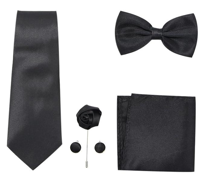 336d7d17e47 JAIFEI Men s 5-Piece Necktie Set  Necktie+Bowtie+Cufflink+Lapel  Pin+Handkerchief