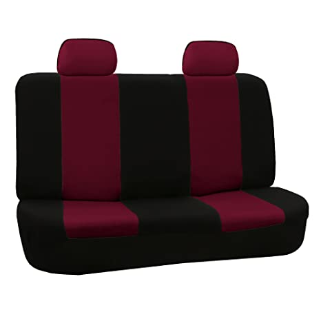 Awe Inspiring Fh Group Fb050012 Flat Cloth Rear Bench Seat Covers W 2 Headrest Covers Burgundy Black Color Fit Most Car Truck Suv Or Van Caraccident5 Cool Chair Designs And Ideas Caraccident5Info