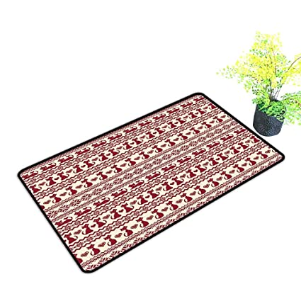 Amazon Com Diycon Thin Door Mat Nordic Cat Pattern With