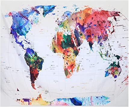 Amazon Com Tapestry Creative World Map Wall Hanging Mural Living