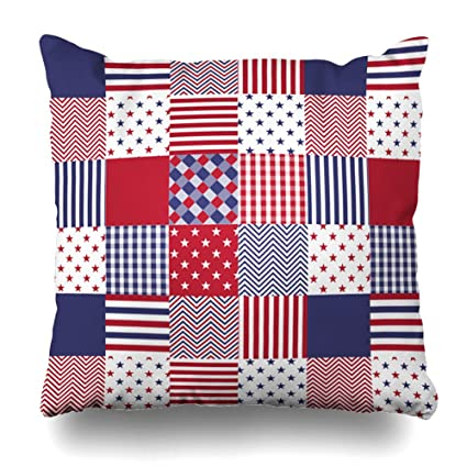 16 By 16 Pillow.Kutita 16 X 16 Inch Throw Pillow Covers Usa Americana Patchwork Red White Blue Quilt Pattern Double Sided Sofa Cushion Cover Couch Bed Pillowcase Home