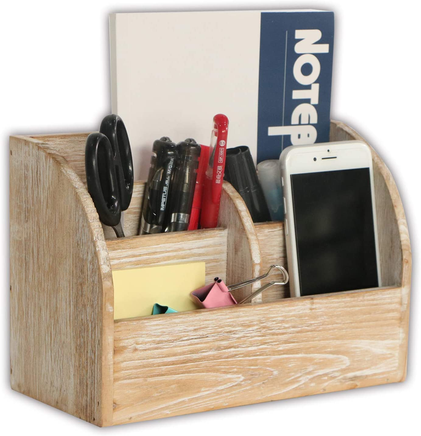 Emaison Wood Desk Organizer and Mail Sorter with 5 Compartments - for Home Office Supplies and Desktop Accessories – Nature