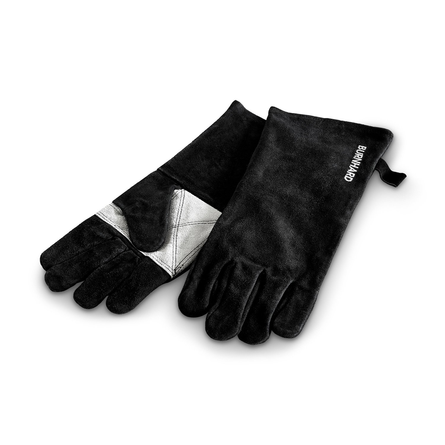 BURNHARD Professional leather barbecue gloves extremely heat-resistant BBQ five-finger gloves in universal size with double leather padding and forearm protection