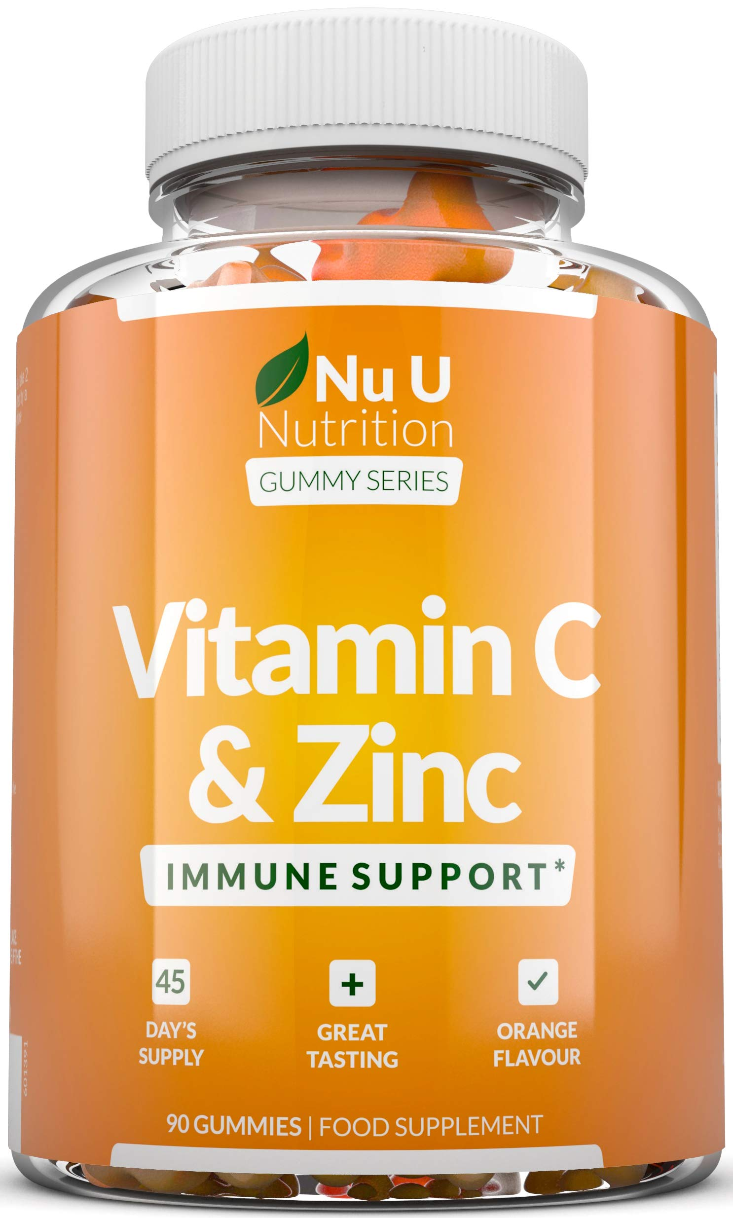 Vitamin C and Zinc Gummies - Immune Support - 60mg Vitamin C as Ascorbic Acid - 90 Gummies 45 Day Supply - Orange Flavoured Chewable Gummy Supplement for Adults & Children - Gluten Free Gummies