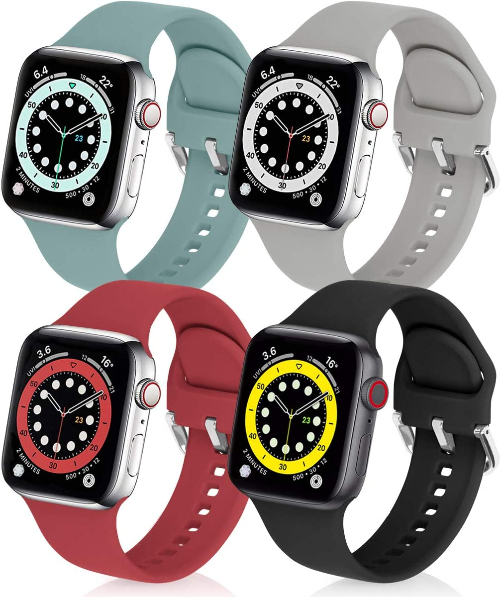 eCamframe Bands Compatible with Apple Watch Band 42mm 44mm, 4 Pack Soft Silicone Sport Replacement Wristband Compatible with iWatch Series 6 5 4 3 2 1 & SE (Black+Red+Gray+Cactus,42/44mm)