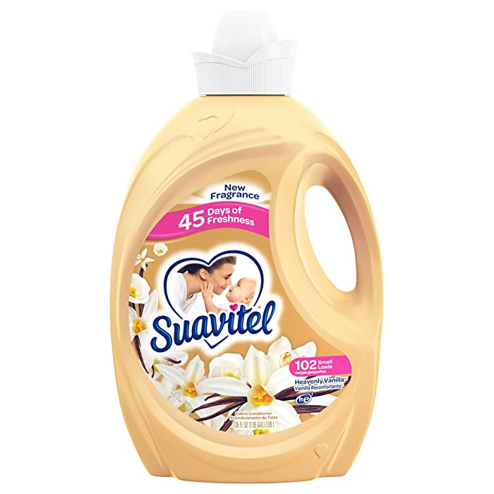 SUAVITEL Fabric Softener, Heavenly Vanilla, 135 fl. oz. (102 Laundry Loads) | Household Supplies | Laundry Scent Boosters for Washer, Laundry Softener | Model Number: US04872A