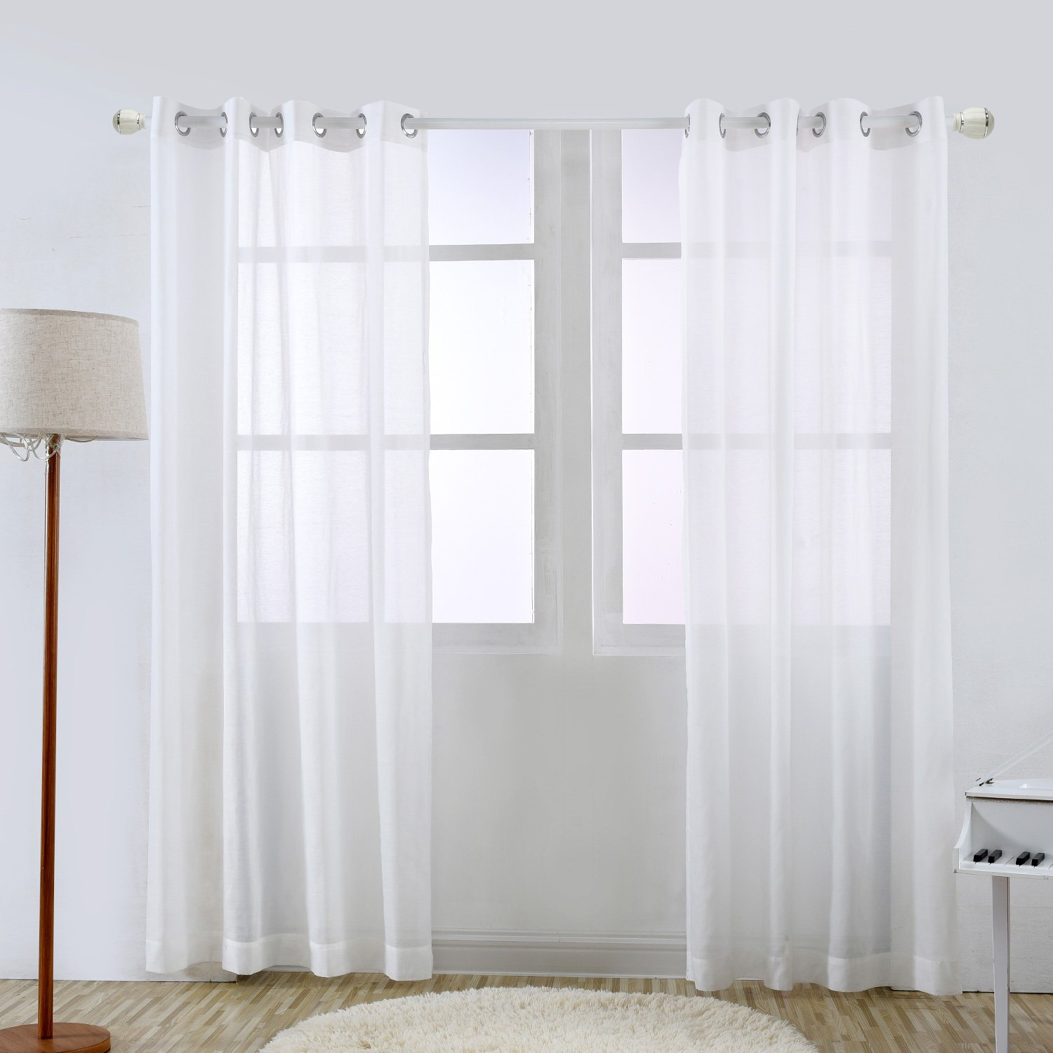 YOJA Sheer Window Curtain Voile Panels with Grommet Top Solid White