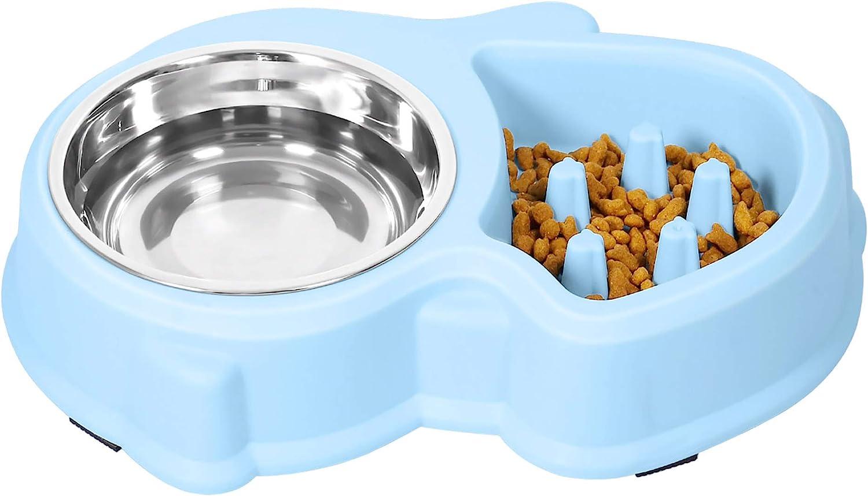 UPSKY Slow Feeder Dog Bowl No Choking Slow Feeder Bloat Stop Dog Food Water Bowl (Sky Blue)