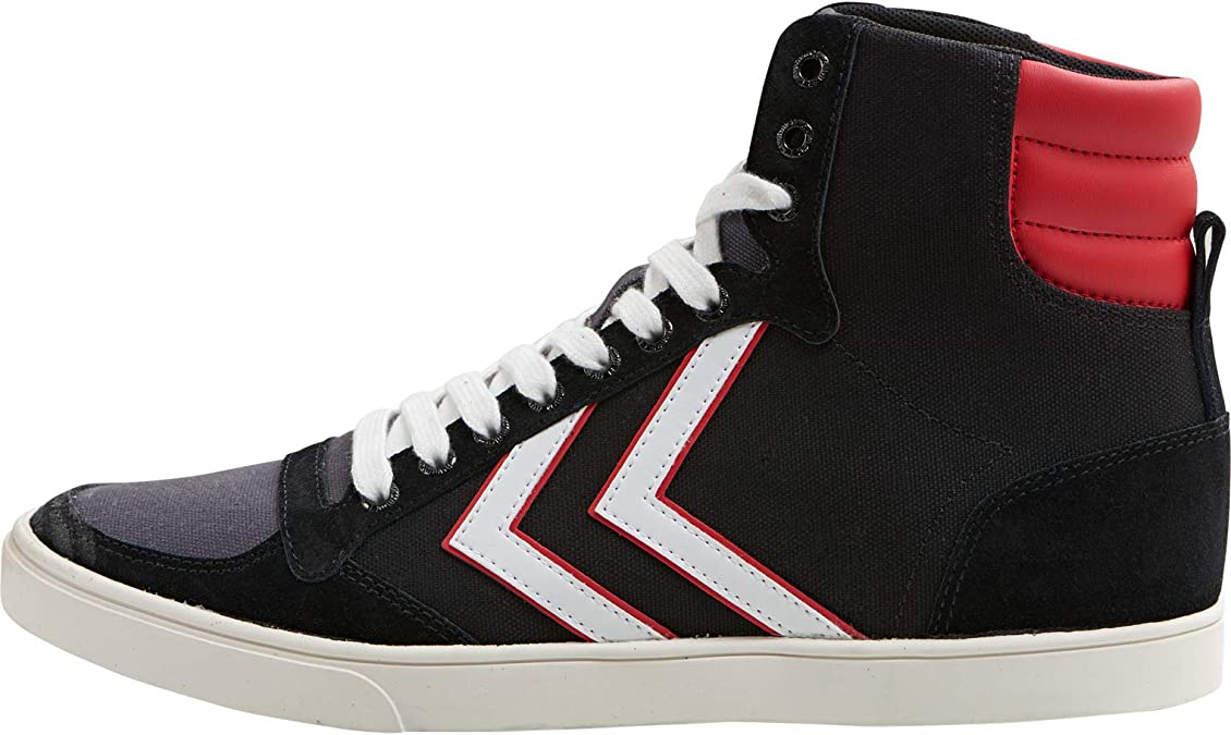 Hummel Slimmer Stadil High Canvas White Blue Red Mens Trainers Boots
