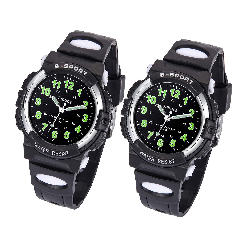 Kids Watch, Child Quartz Wristwatch for Boys Kids Waterproof Time Teach Watches Rubber Band Analog Quartz Children Sport Outdoor Wrist Watches (Black/Black)