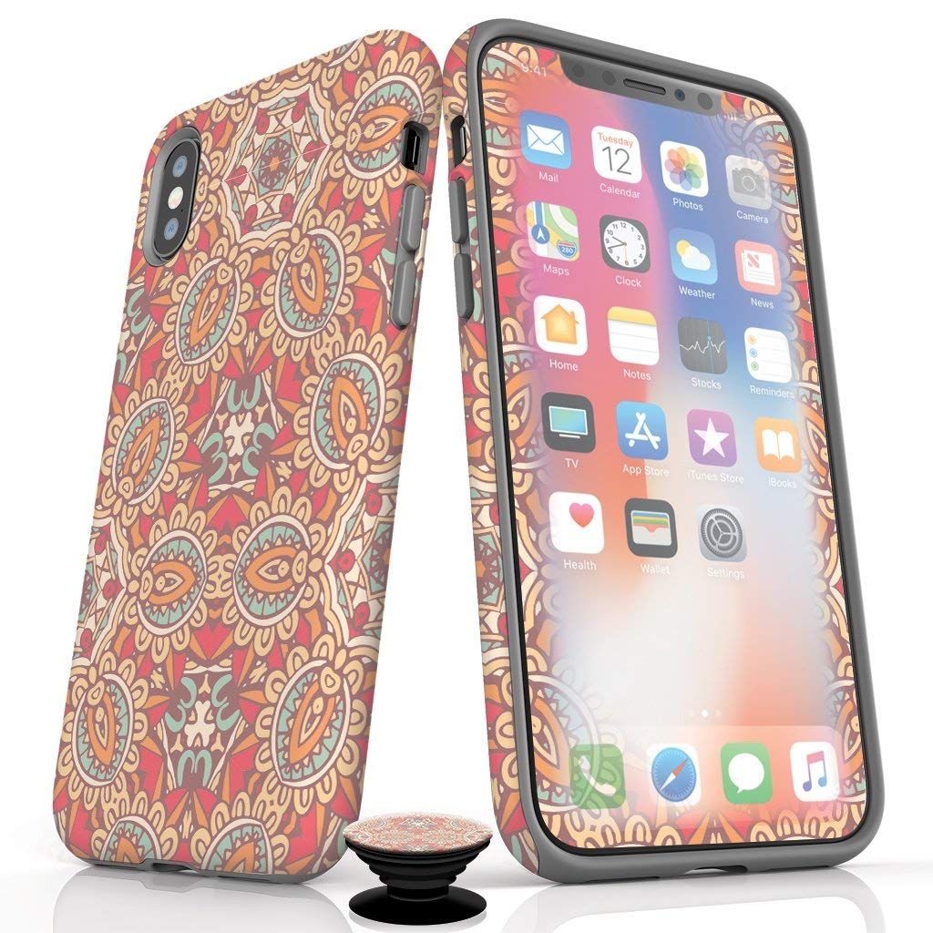 Phone Accessory Bundle for iPhone Xs Max- Screen Protectors, Matte iPhone Case, and Cell Phone Grip with Mandala Design by Screenflair