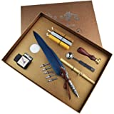 2 Replacement Nibs Glittering Quill Pen Set Antique Calligraphy Writing Dip Pen with Ink VANGOAL Retro Carving Feather Pen Set Pen Stand Base Luxury Vintage Signature Pen Red