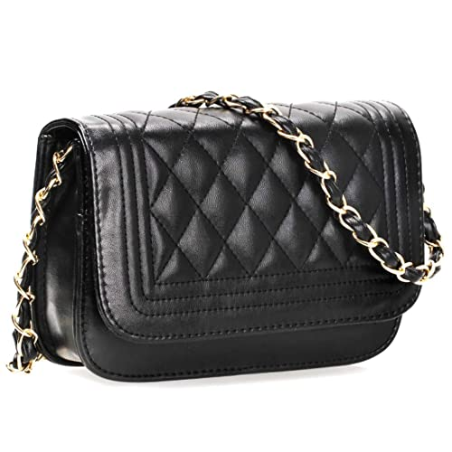 f0854b434d BMC Womens Midnight Black PU Faux Leather Diamond Quilted Pattern Mini Handbag  Shoulder Strap Clutch