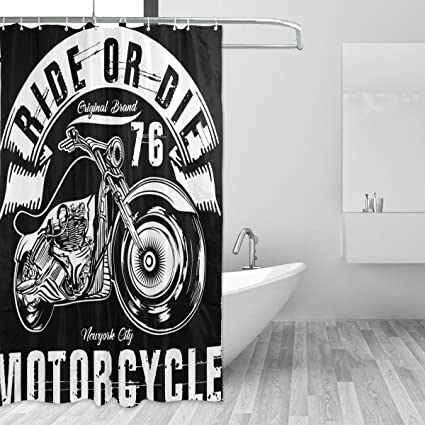 JSTEL Motorcycle Shower Curtain Mildew Resistant And Waterproof Polyester Fabric 72 X Inches For Home
