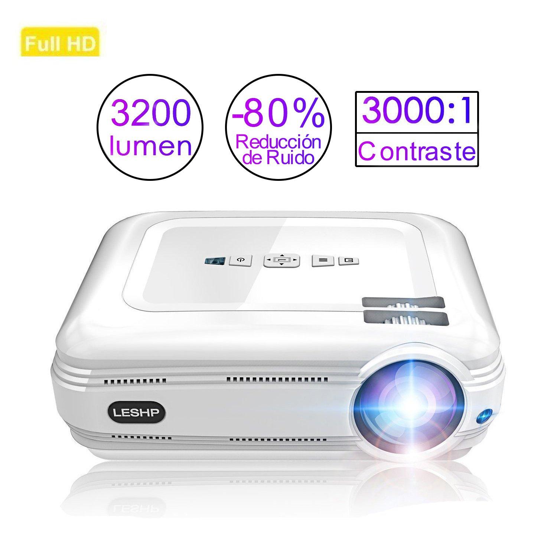 Proyector de Vídeo, LESHP LED Proyector Portátil 3200 lumens Full HD 1280x800 proyector para Home Cinema (Altavoz Incorporado, con USB/ HDMI/ VGA/ AV, ...