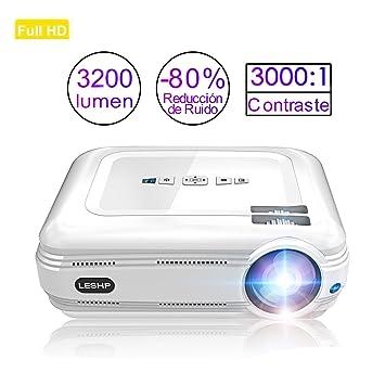 Proyector de Vídeo, LESHP LED Proyector Portátil 3200 lumens Full ...