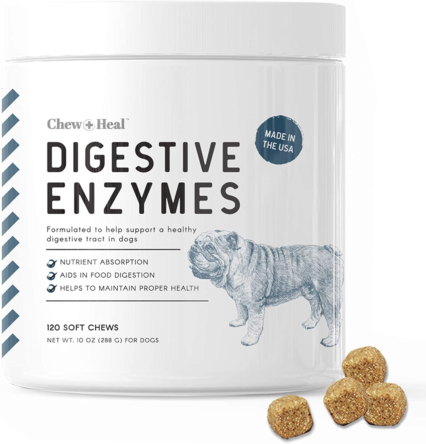 Chew + Heal Digestive Enzymes with Probiotics for Dogs - 120 Soft Chew Treats - Supports Healthy Digestive Tract, Helps Nutrient Absorption, Food Digestion, and Health Maintenance - Made in The USA