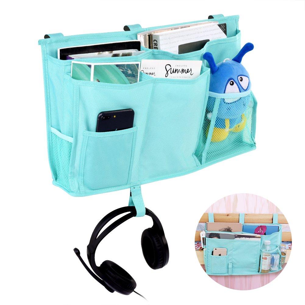 Caddy de cabecera, 8 bolsillos Oxford durable Organizador de almacenamiento colgante multifuncional de la cabecera junto a la cama para cabeceros, rieles de la cama, dormitorios, literas Cama de hospi(Lake Blue) Zerodis