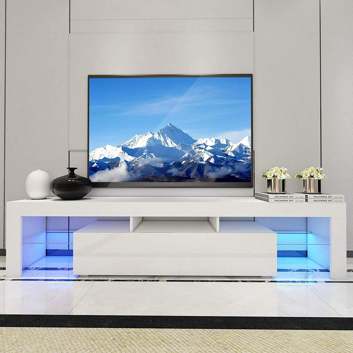 Mtfy Tv Stand With Led Lights 52 Modern Tv Cabinet With Storage Drawer For Living Room Home Furniture Monitor Stand Table White Furniture Decor